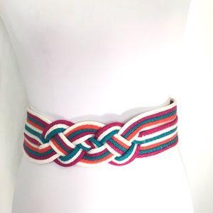 Vintage 80s woven multi color braided Belt M L